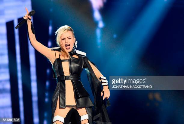 Poli Genova representing Bulgaria with the song 'If Love Was A Crime' performs during the final of the Eurovision Song Contest 2016 Grand Final in...
