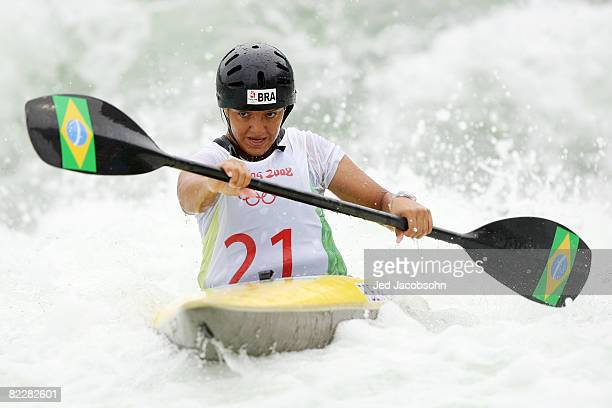 Poliana De Paula of Brazil competes in the canoe/kayak slalom event at the Shunyi Olympic RowingCanoeing Park during Day 5 of the Beijing 2008...