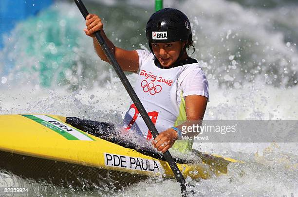 Poliana De Paula of Brazil competes in the Women's Kayak Semifinals event at the Shunyi Olympic RowingCanoeing Park on Day 7 of the Beijing 2008...