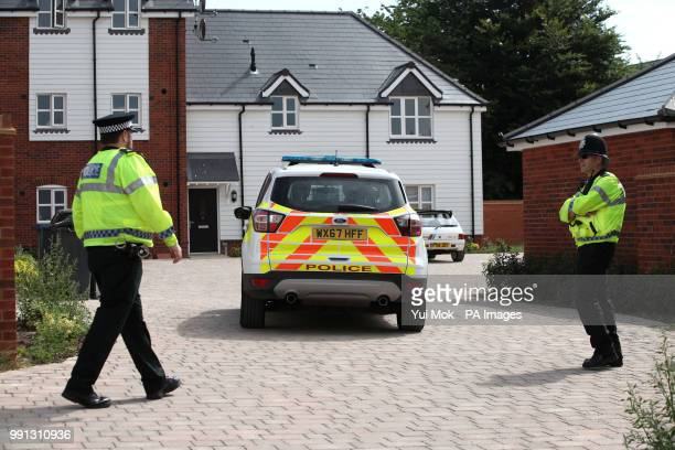 Police activity outside a block of flats on Muggleton Road in Amesbury Wiltshire where a major incident has been declared after it was suspected that...