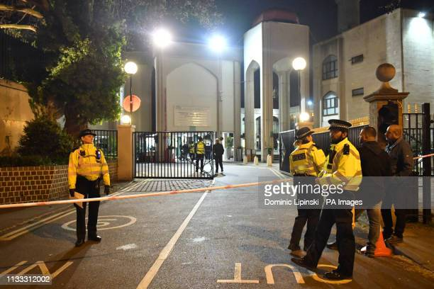 Police activity outside the London Central Mosque, near Regent's Park, London after a man was found with stab injuries in a nearby street.