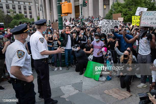 Police address protesters at Foley Square during during a march to honor George Floyd in Manhattan on May 31 2020 in New York City Protesters...