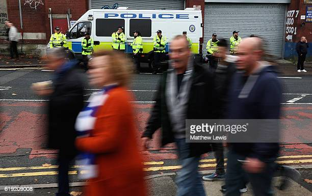 Police align the streets outside St Andrews ahead of the Sky Bet Championship match between Birmingham City and Aston Villa at St Andrews on October...