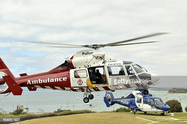 Police and ambulance helicopters at Sorrento, Victoria.
