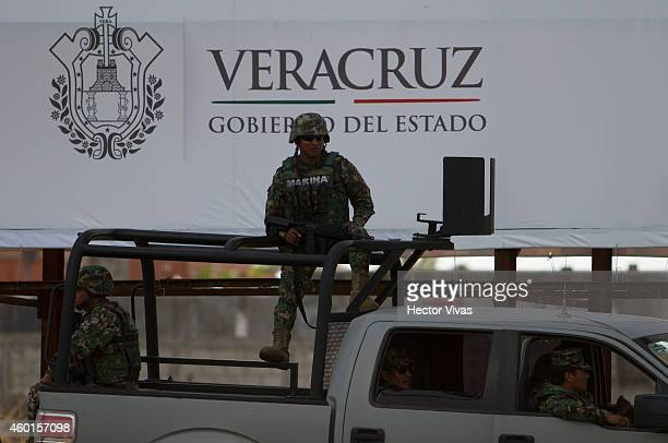 Police and army forces guard the XXIV IberoAmerican Summit Veracruz 2014 at World Trade Center on December 08 2014 in Veracruz Mexico The...