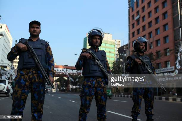 Police and Bangladesh Border Guard are incise security in the road ahead of the 11th general election in Dhaka Bangladesh on December 28 2018
