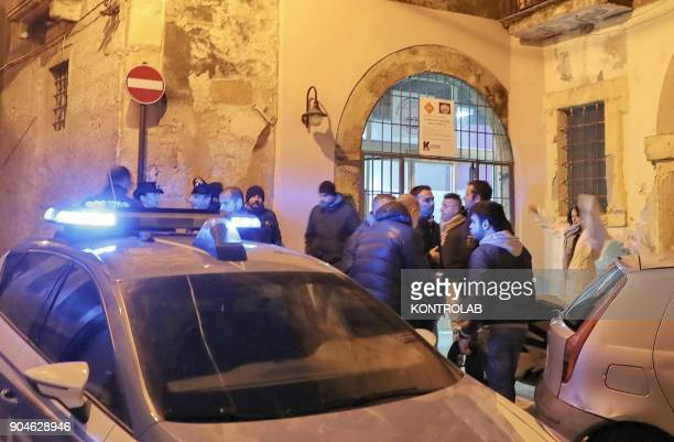 Police and Carabinieri during the investigation for the murder of Giuseppe Parretta shot dead by Salvatore Gerace 57 in Crotone Calabria Southern...