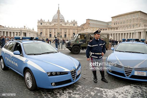 Police and Carabinieri stand guard outside St Peter's square at the Vatican on November 14 a day after deadly attacks in Paris Pope Francis said...