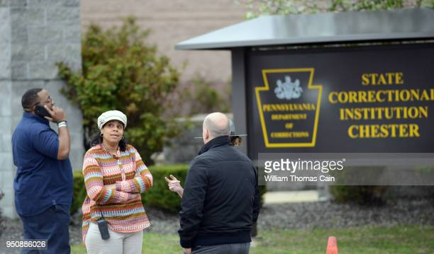 Police and corrections officials await the release of Meek Mill aka Robert Williams from the Pennsylvania State Correctional Facility April 24 2018...
