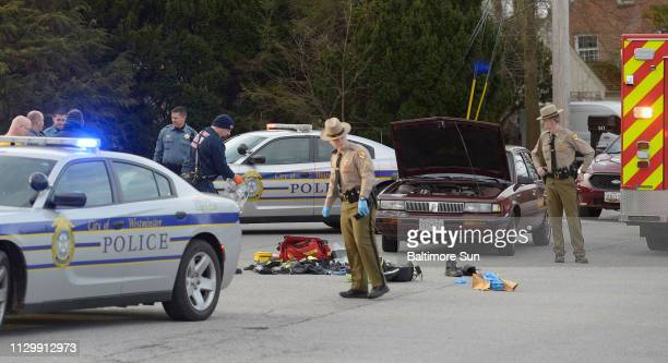 Police and emergency responders work at the scene of a shooting in the 600 Block of Washington Road in Westminster Monday morning, March 11, 2019.