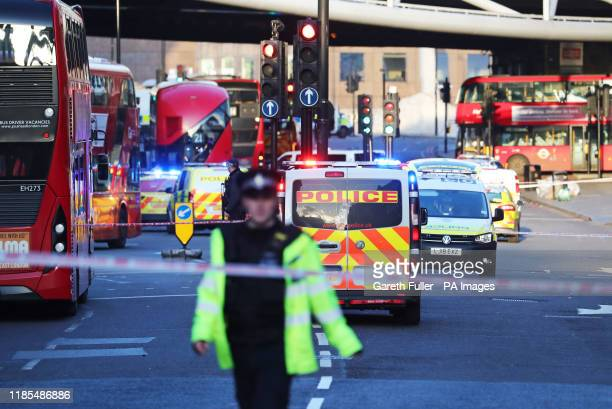 Police and emergency services at the scene of an incident on London Bridge in central London