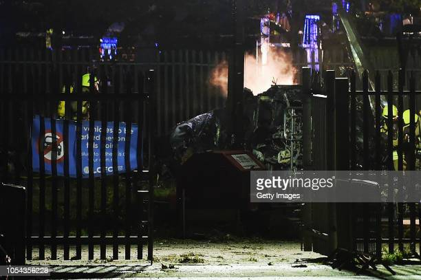 Police and emergency services work at the scene of an accident at The King Power Stadium on October 27 2018 in Leicester England Sources report the...