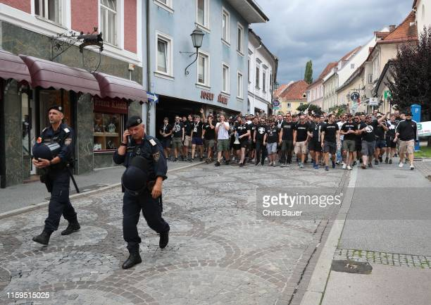 August 04: Police and fans of Sturm Graz walking to the stadium before the tipico Bundesliga match between RZ Pellets WAC and SK Punitgamer Sturm...