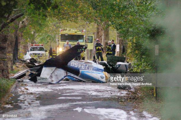 Police and firefighters are at the scene where a twinengine Cessna crashed in the Village of East Hampton LI The aircraft plummeted out of the sky at...