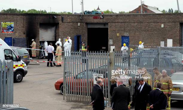 Police and firefighters attend the scene of an explosion at the Broadfield Lane industrial estate in Boston Lincolnshire