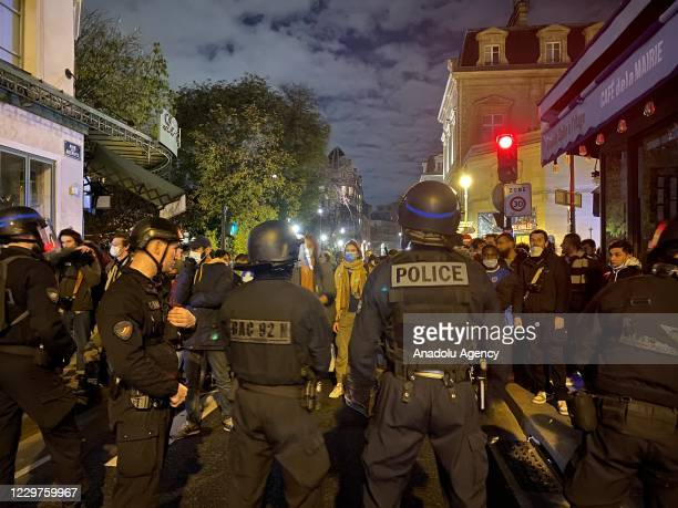 Police and gendarmerie officers intervene in refugees who came to Republique Square in the evening hours and set up camp, on November 23, 2020 in...