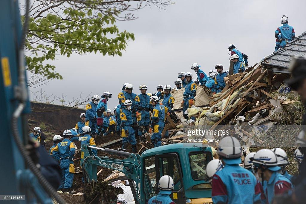 The magnitude 7.3 earthquake hit Kyushu : News Photo