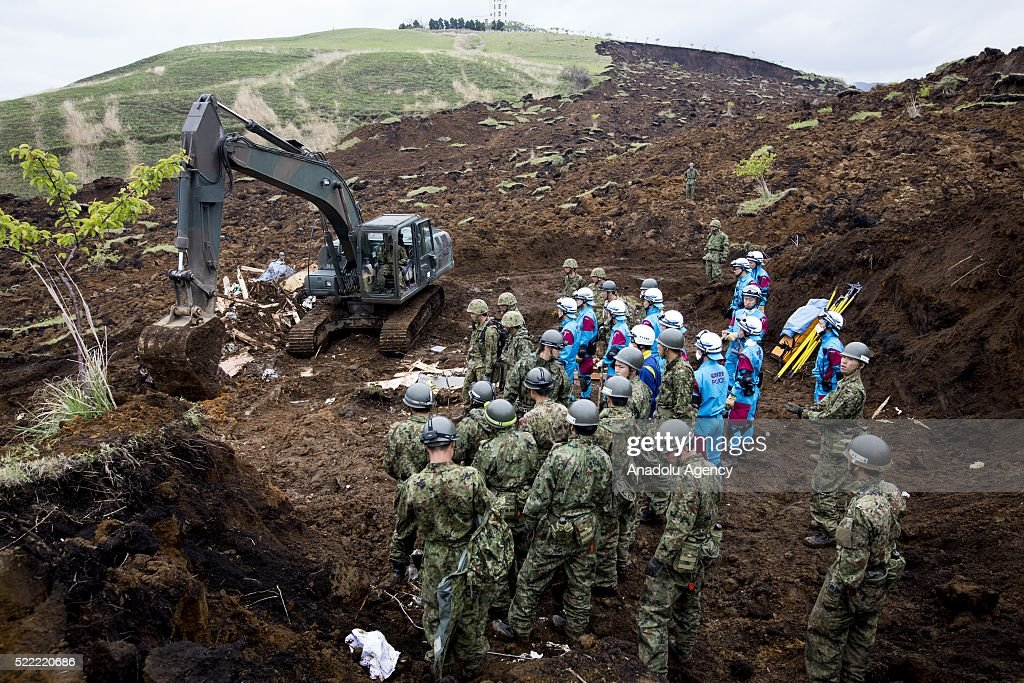 Police and Japan Ground Self-Defense Force continue to rescue operations on April 18, 2016 in Minamiaso, Kumamoto, Japan. After the magnitude 7.3 earthquake hit Kyushu at least 42 people have died and 11 still missing.