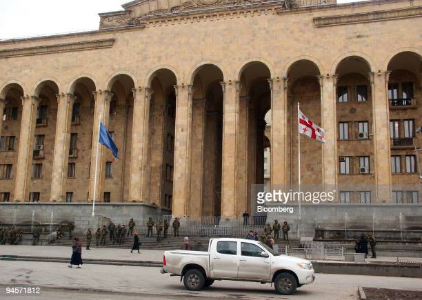 Police and members of the state security force secure the entrance to the Georgian parliament building in Tbilisi Georgia on Thursday Nov 8 2007...