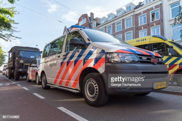 Police and military vehicles in Amsterdam, Netherlands