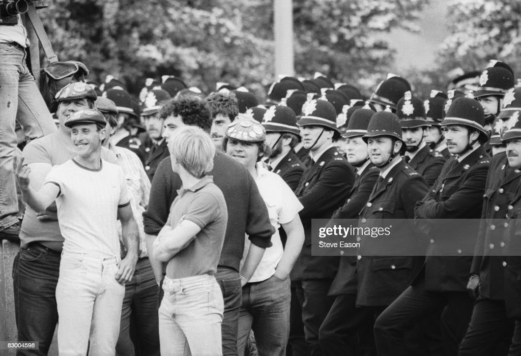 Police and miners at a demonstration at Orgreave Colliery, South Yorkshire, during the miners' strike, 2nd June 1984.