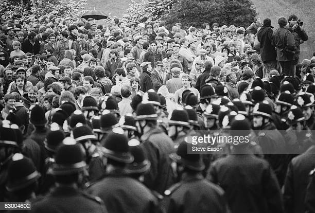 Police and miners at a demonstration at Orgreave Colliery South Yorkshire during the miners' strike 2nd June 1984