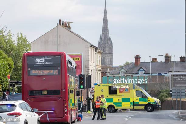 Police and other emergency services respond to a incident in Salisbury on July 9 2018 in Wiltshire England Police have launched a murder enquiry...