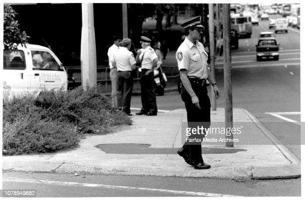 Police and Prison Guards on the IslandScene of Today's shooting at Prisoner in Elizabeth Street side of St James Courthouse. March 27, 1987. .