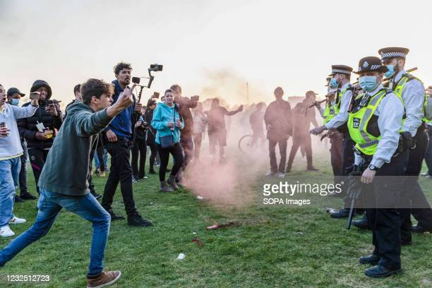 Police and protesters clash after demonstrations at Hyde Park. People called online to a flash mob-style mass gathering against vaccine passports,...