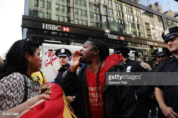 Police and protesters face off as they try to march from New York's Union Square on May Day on May 1 2017 in New York New York Across the country and...