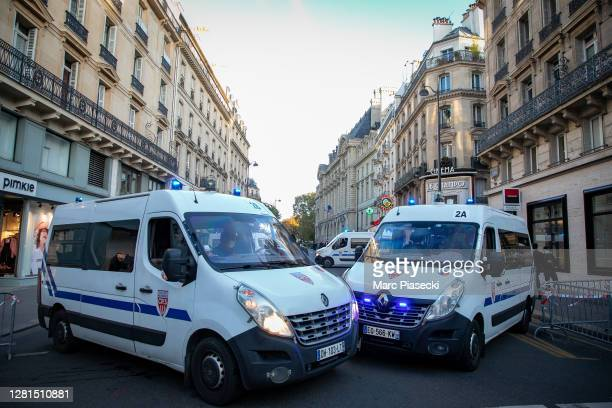 Police are deployed around Sorbonne University during a national tribute to slain teacher Samuel Paty on October 21, 2020 in Paris, France. 401...