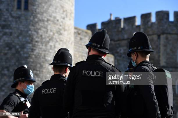 Police are directed to positions at Windsor Castle in Windsor, west of London, on April 15, 2021 as preparations commence for the funeral of...