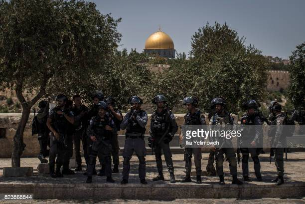 Police are on high alert during a demonstration on July 28 2017 in Jerusalem Israel Religious leaders announced that following a recent terror attack...