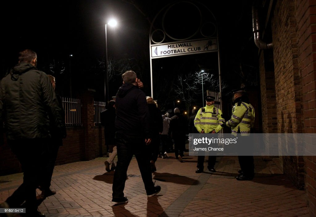 Police are seen as fans make there way to the stadium prior to the Sky Bet Championship match between Millwall and Cardiff Cityat The Den on February 9, 2018 in London, England.
