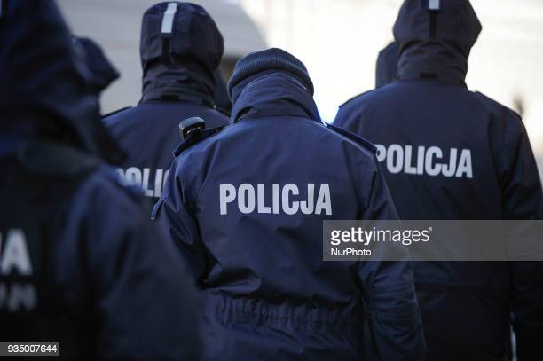 Police are seen at antifacism demonstratino in Warsaw Poland on March 17 2018