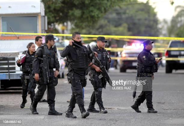 Police are seen at the scene of the crime where Mexican musician Willie a member of the Sonora Tropicana band was killed by armed men in Guadalajara...