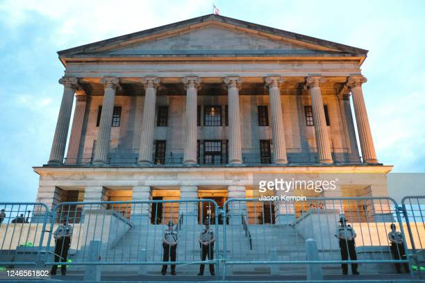 Police are seen surrounding the Tennessee State Capitol building on June 04, 2020 in Nashville, Tennessee. Minneapolis Police officer Derek Chauvin...