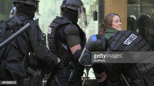 Police arrest a protester during a free speech rally near Terry Schrunk Plaza in Portland, Oregon, on June 4, 2017.