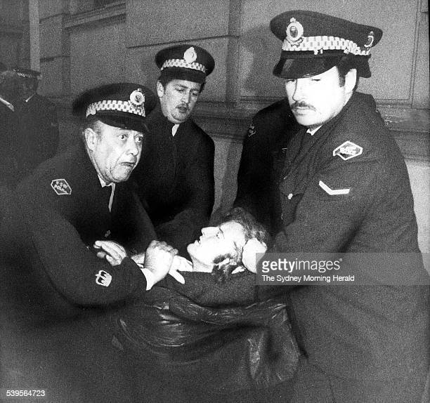 Police arrest a protester during a gay rights demonstration which would become known as the first Sydney Gay and Lesbian Mardi Gras June 1978 SMH...