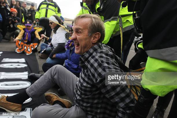 Police arrest a protester outside of the Elizabeth Detention Center during a rally attended by immigrant residents and activists on February 23 2017...