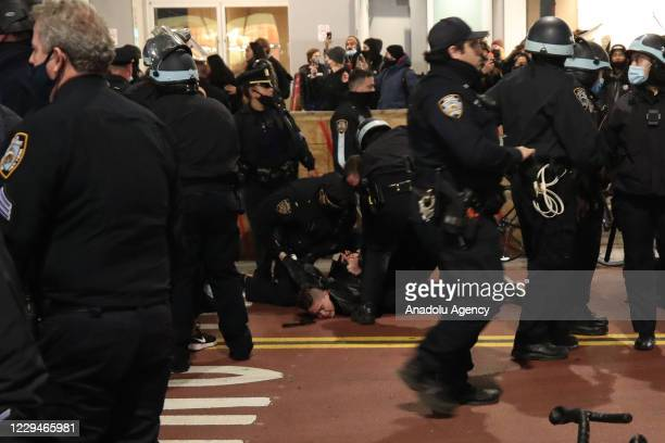 Police arrest election protestors after they marched the streets in Manhattan at Union Square in New York City, United States on November 04, 2020.