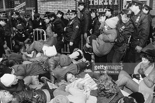 Police arrest ProLife demonstrators who are protesting against abortion by blocking the entrance to the Planned Parenthood clinic on 2nd Avenue New...