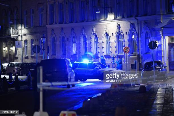 Police arrive after a synagogue was attacked in a failed arson attempt in Gothenburg Sweden late December 9 2017 No one was injured but Jewish...