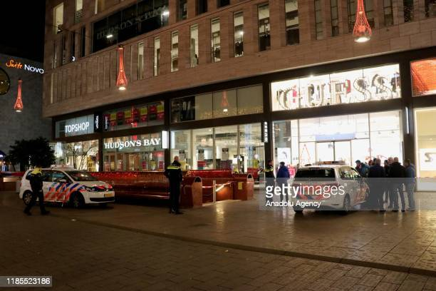 Police arrive at the Grote Marktstraat in The Hague, The Netherlands on November 29, 2019 after several people were reported injured in a stabbing.