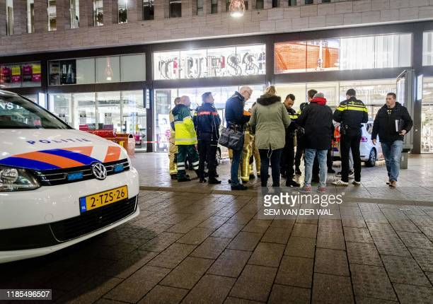 Police arrive at the Grote Marktstraat one of the main shopping streets in the centre of the Dutch city of The Hague after several people were...