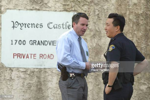 Police arrive at the home of record producer Phil Spector on February 4, 2003 in Alhambra, California. Spector was arrested on February 3, 2003 for...