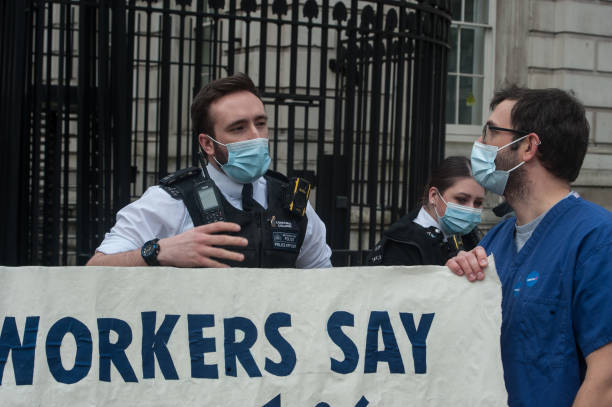 GBR: Protest At Downing Street Over NHS Pay Proposal