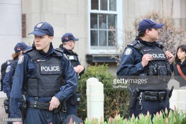 Police assemble as several farright groups including the Soldiers of Odin PEGIDA the Wolves of Odin the Sons of Odin the Jewish Defense League the...