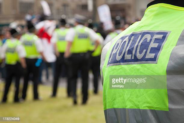 Police at a protest rally