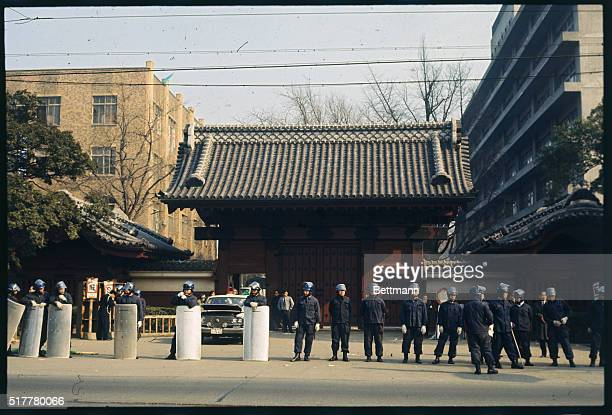 Police at gate of Tokyo University January 18th as they begin an 11hour battle that dislodged radical students who have paralyzed the campus for...